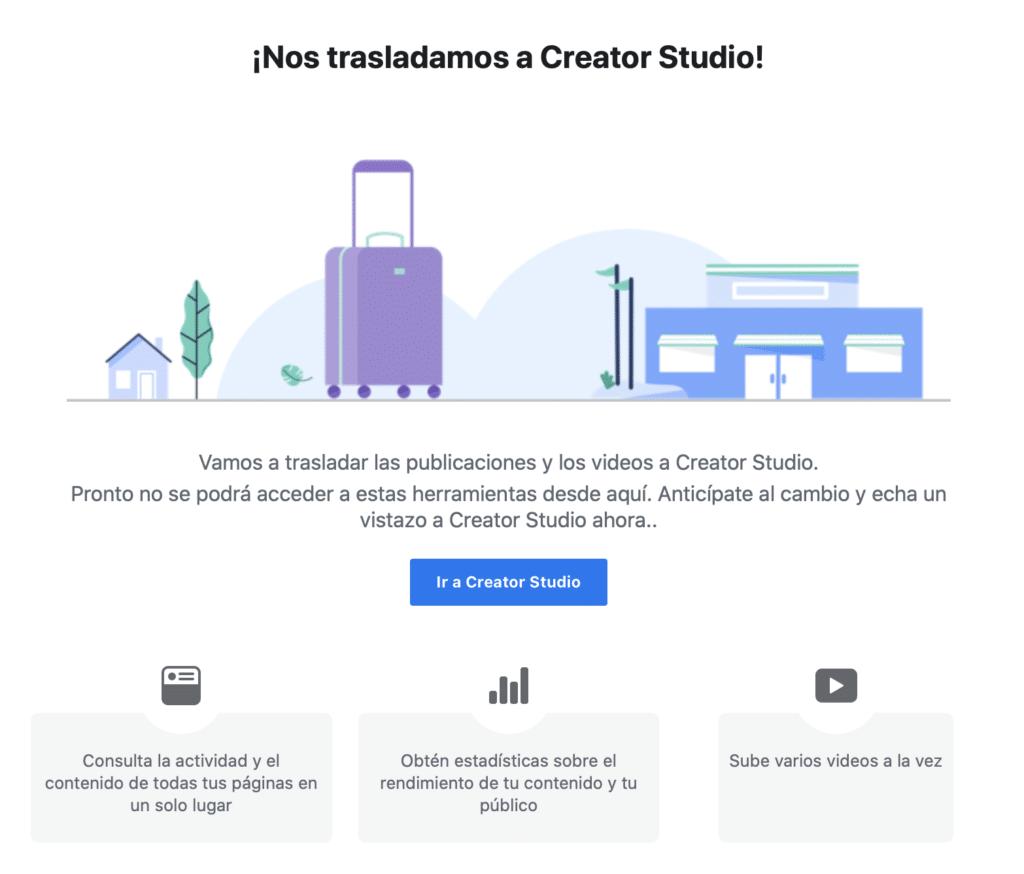 Facebook traslada a Creator Studio las publicaciones y vídeos.